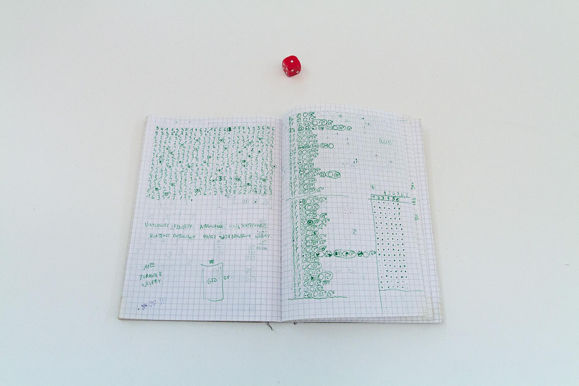 Zeszyt zawierający notatki Adama Jastrzębskiego odnośnie vinylogosu, zdjęcie dzięki uprzejmości galerii Propaganda