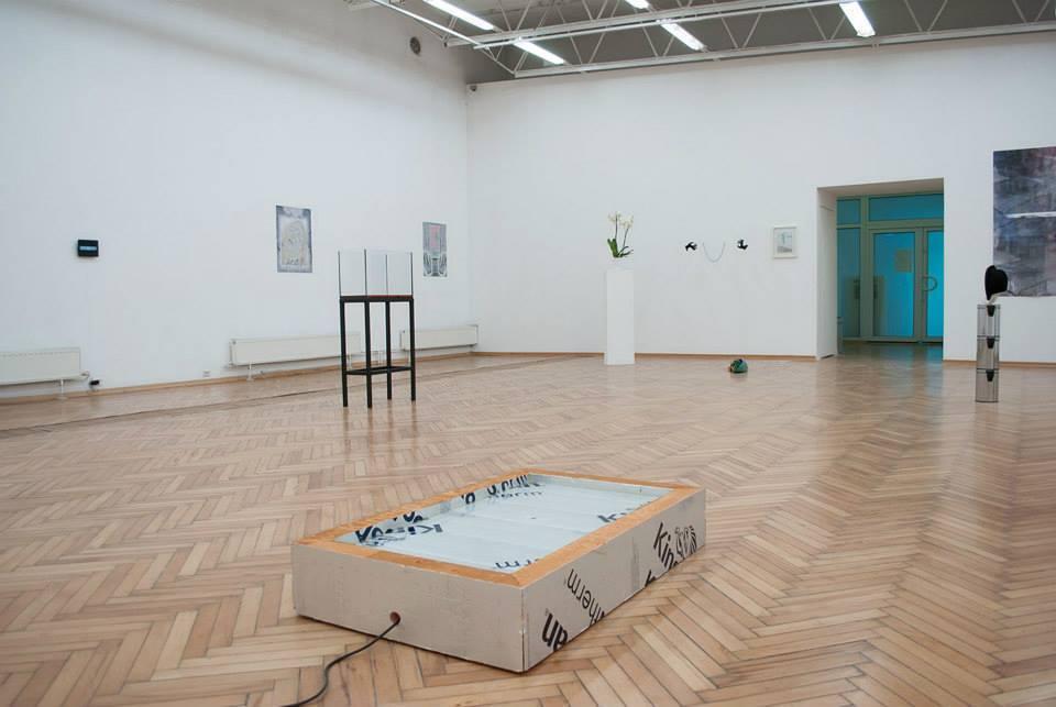 IT IS ART OR IT JUST, widok nawystawę, napierwszym planie instalacja Piotra Łakomego, beztytułu, 2014