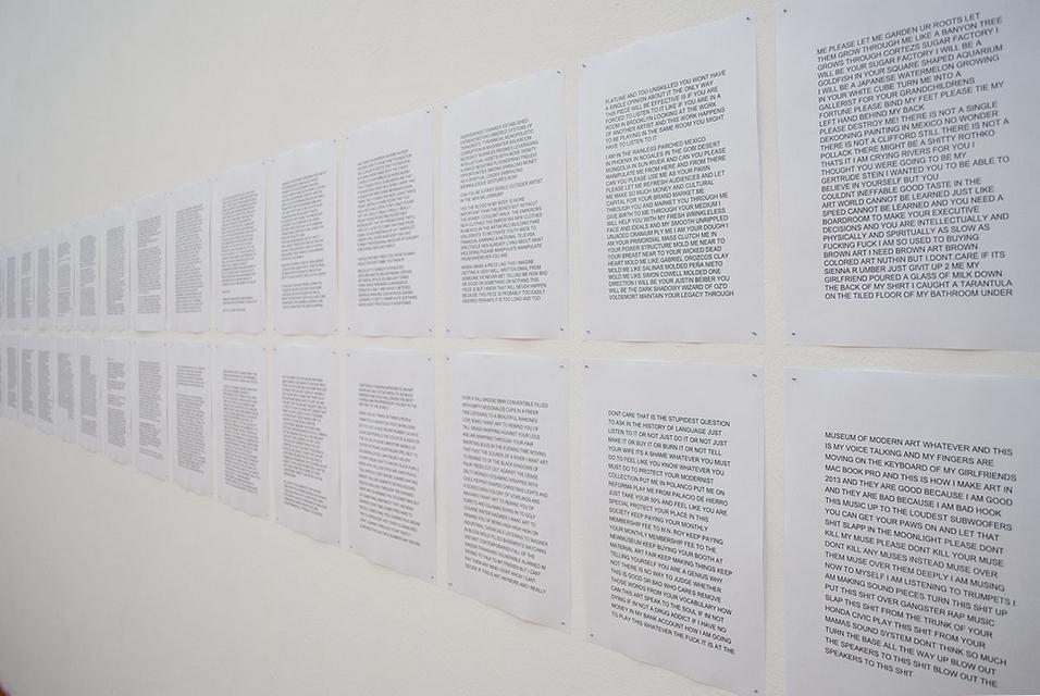 Andrew Birk, HOMEINTERIORMUSEUMPAISJEPASSAGESCHOPPENDHOMAGEPOEM, audio, wydruk, 2014, dzięki uprzejmości BWA Zielona Góra