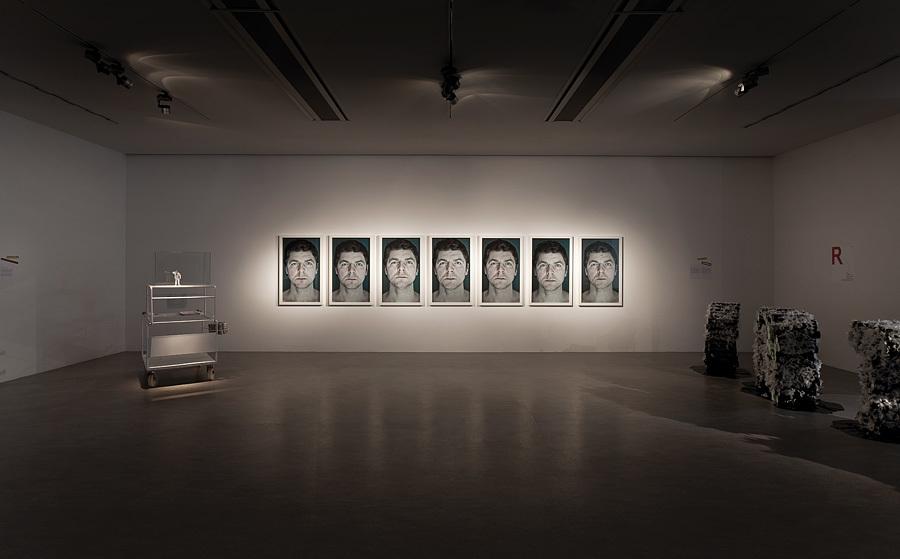 """Widok ekspozycji """"Crimestory"""" zpracami Grzegorza Drozda """"Autoportret"""" i""""Cyngwajsy"""", dzięki uprzejmości artysty iCSW Zamek Ujazdowski"""