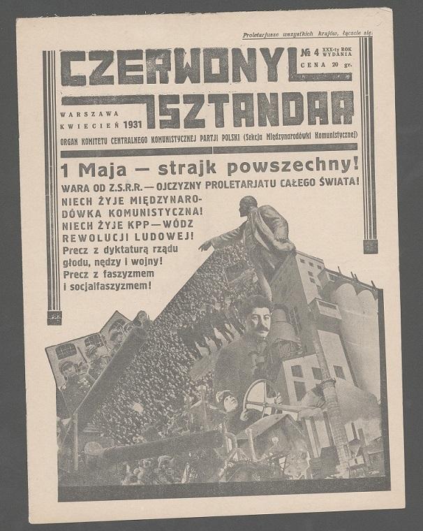 Teresa Żarnower -  Lenin, Liebknecht, Luksemburg, fotomontaż wczasopiśmie â  Czerwony sztandarâ  , 1931, n.1.