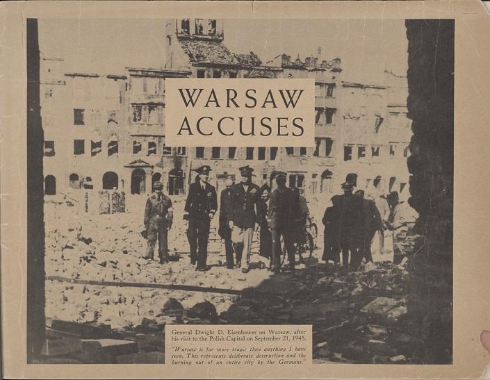 """Układ graficzny broszury """"Warsaw Accuses"""" [Warszawa oskarża], 1946. Library of the Polish Embassy"""