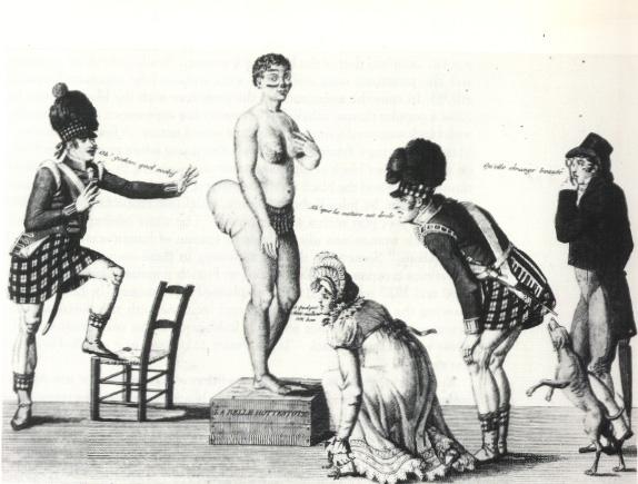 Piękna Hotentotka, rysunek satyryczny z epoki