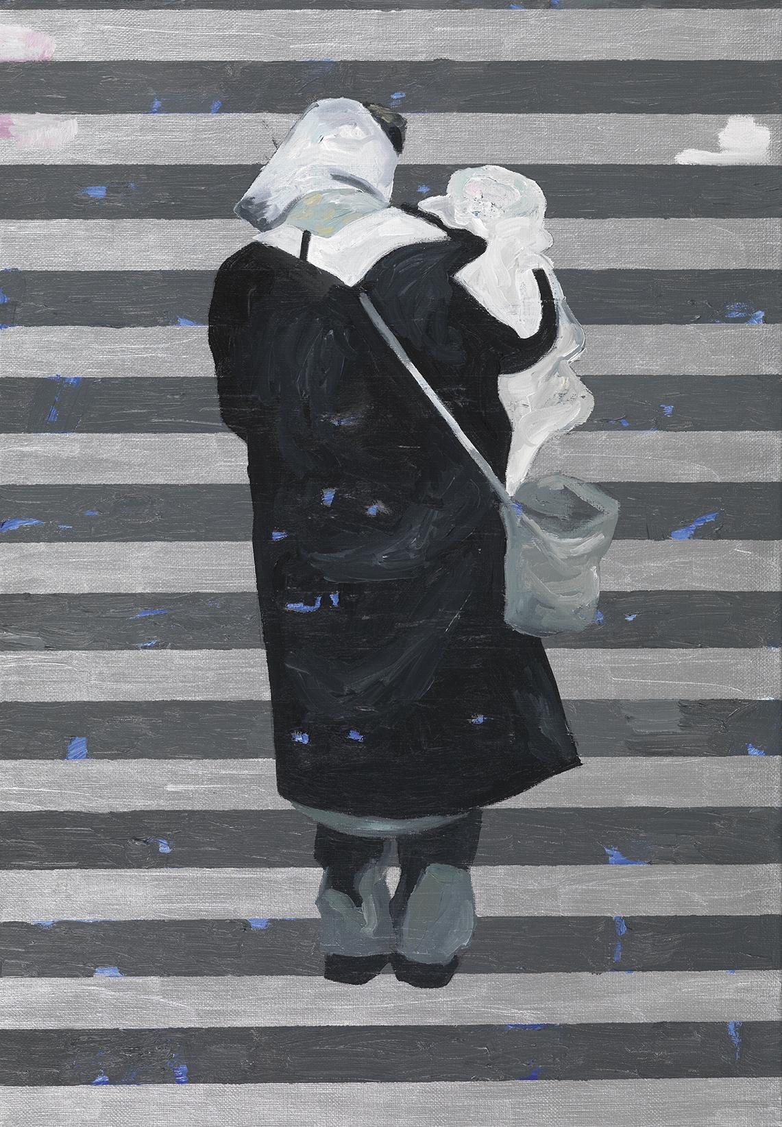 Jan Vanriet, Madonna, Zamkniete drzwi, 2004, olej na płótnie, 70 x 50 cm