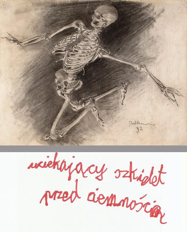 Władysław Podkowiński, Studium szkieletu, 1892, węgiel, gwasz, papier żeberkowy z filigranem