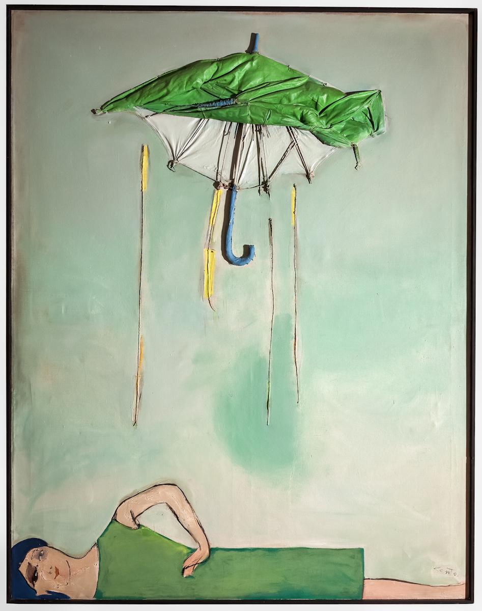 Tadeusz Kantor, Emballage II. Parasol ipostać, technika mieszana, płótno, 1967