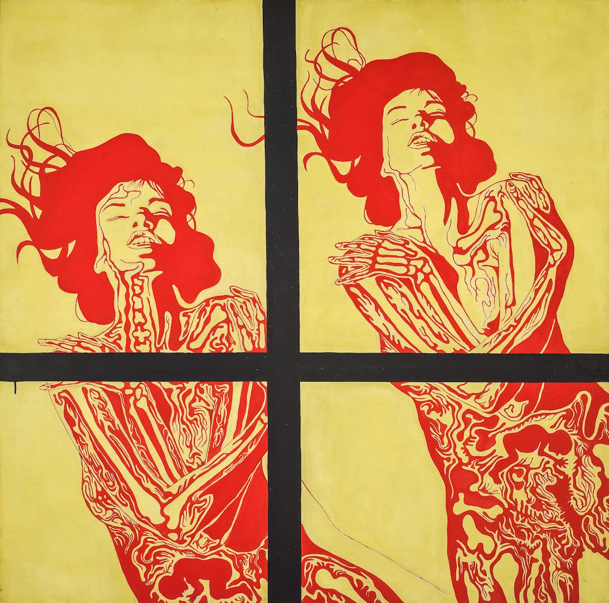 Jan Dobkowski, Płonące kobiety, czyli Rozkosz, olej, płótno, 1967