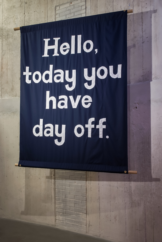 Jeremy Deller, Hello, today you have day off, 2013, propozycja zakupu na2016 rok, dzięki uprzejmości The Modern Institute Glasgow
