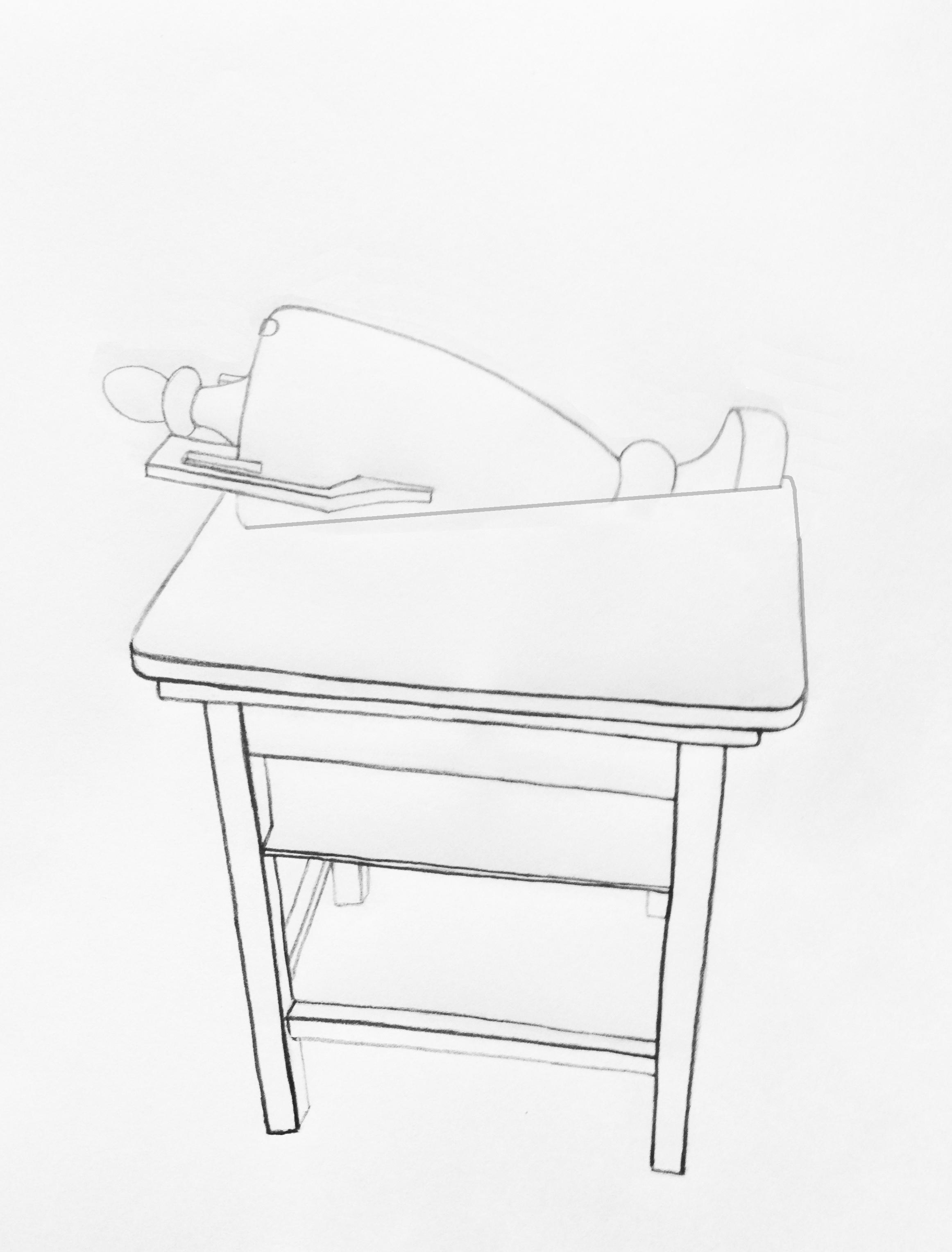 szkic obiektu użytkowego woparciu oprzedmioty pozyskane odkrakowskiego środowiska sztuki, wramach projektu Space Ship Jasny Dom