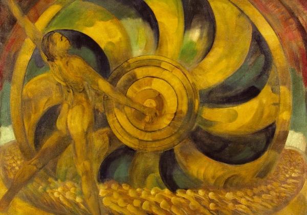 Anton Jaszusch, Żółty młyn, ok. 1921. Olej, płótno, 100 x 120 cm, Východoslovenská galéria Košice