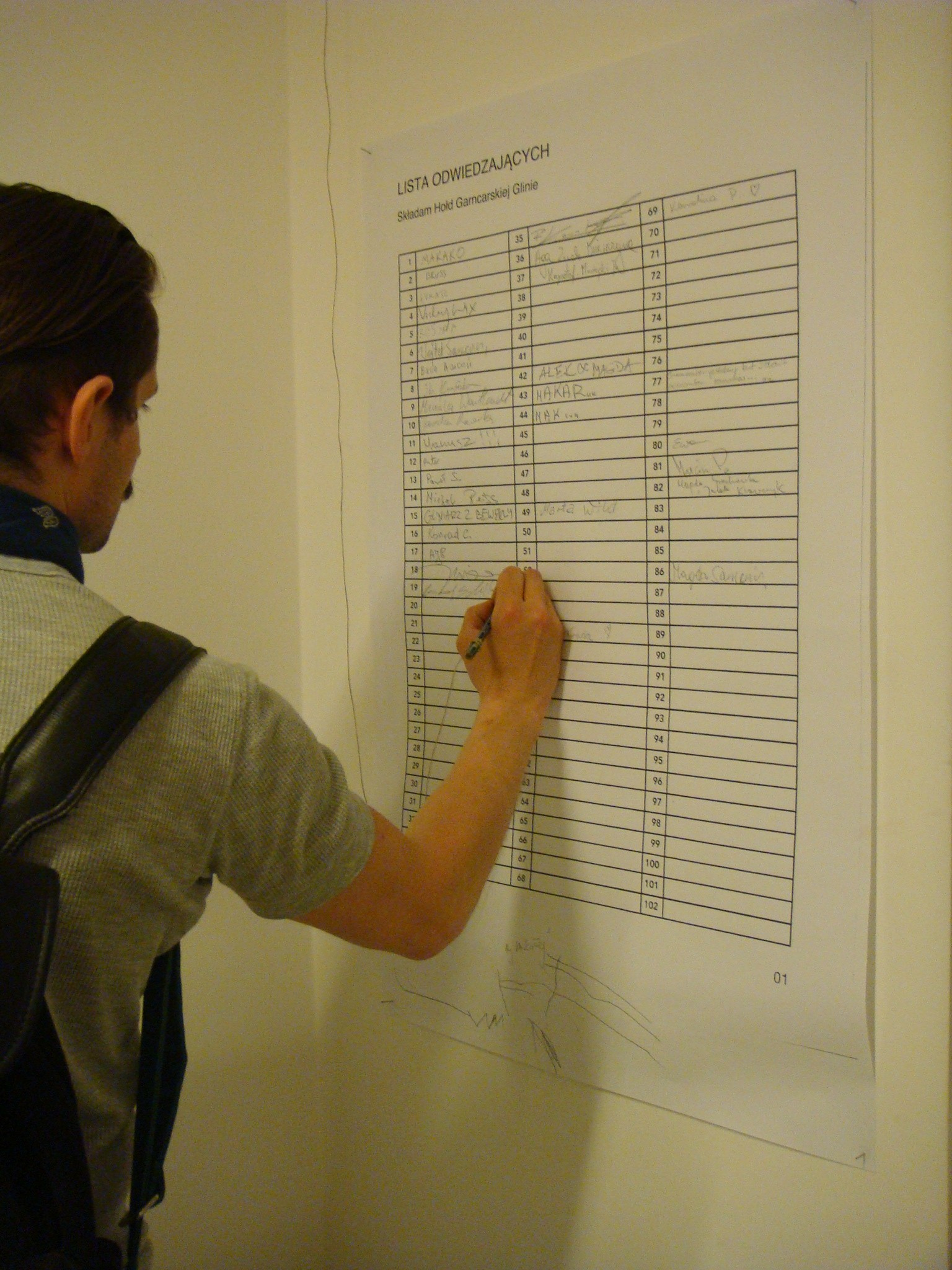 Dominik Lang, Nominal List of Visitors, 2013