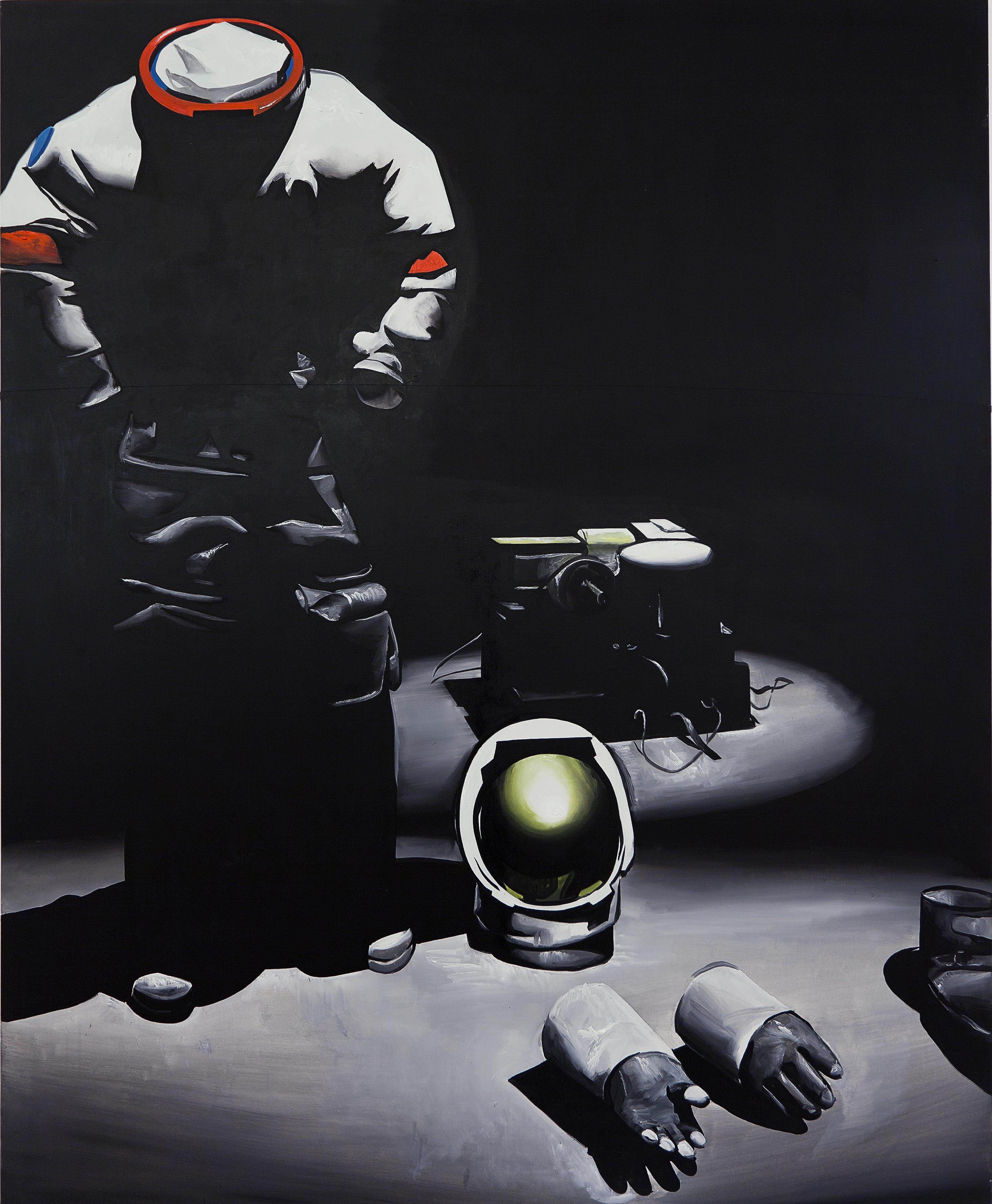 Wilhelm Sasnal, Beztytułu (Astronauta), akryl napłótnie, 2011