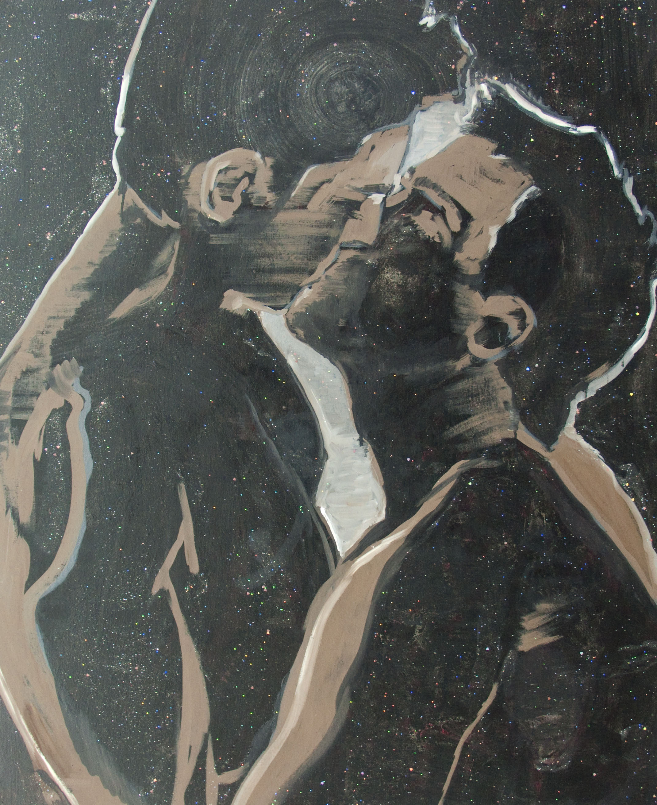 French Kissing, olej iakryl zbrokatem napłótnie, 100 x 80 cm, 2013