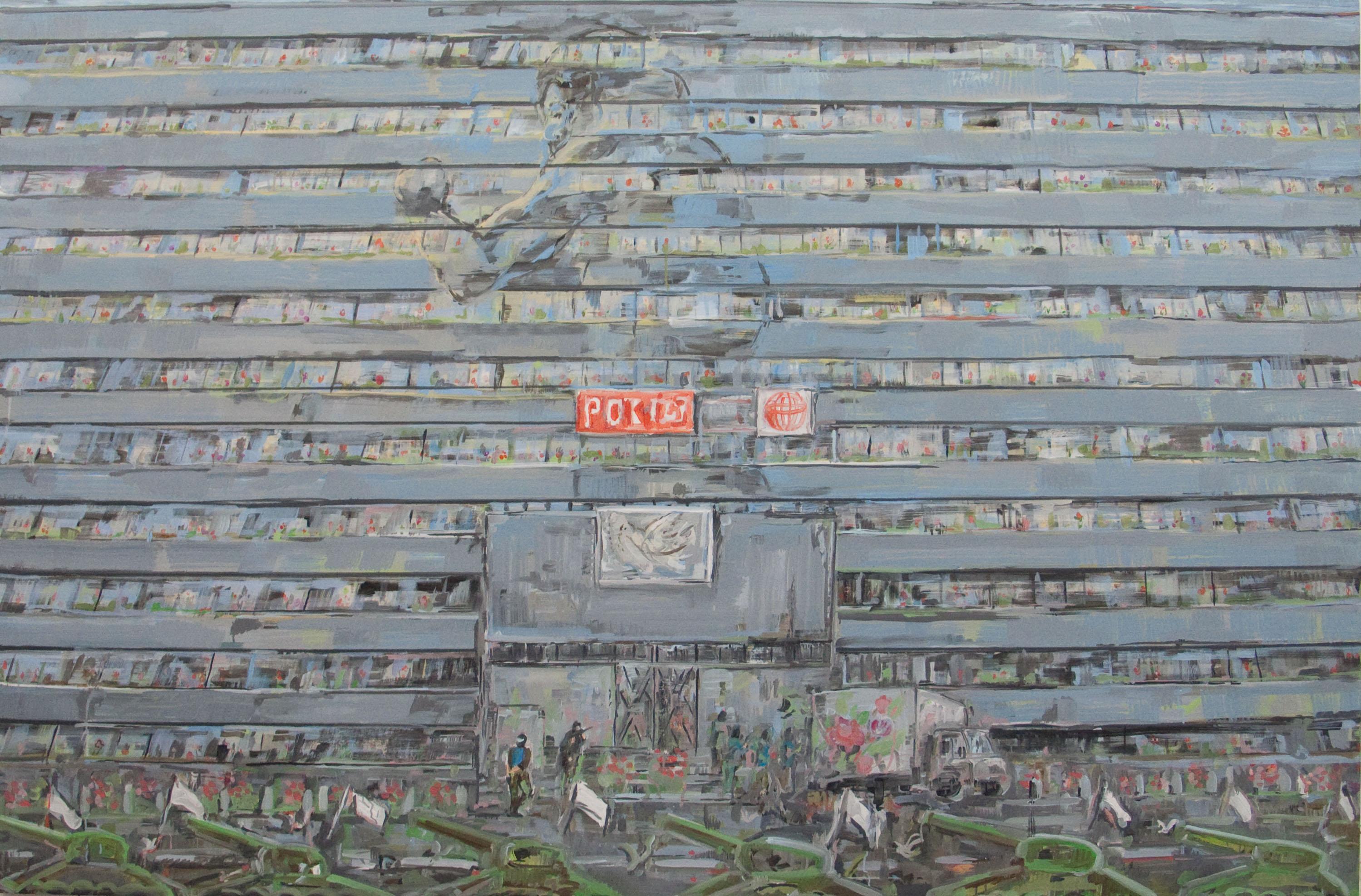 Ministerstwo Obrony wkwiatach, olej napłótnie, 130 x 200 cm, 2012