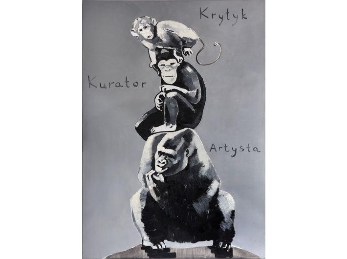 The Krasnals.Whielki Krasnal, Piramida zwierząt / napodstawie pracy Katarzyny Kozyry, 2008, olej napłótnie, 92 x 65 cm