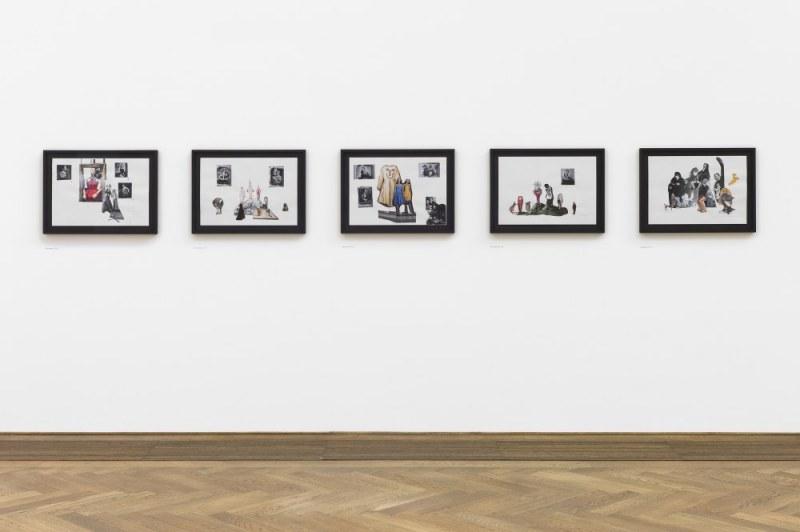 Paulina Olowska, Pavilionesque, Installlationsansicht Shadows Madly Alive I.-V., 2012 Collagen Kunsthalle Basel 2013