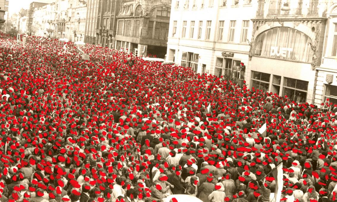 """Ryszard Waśko, """"Ulica Makowa"""" (Marsz Głodnych naulicy Piotrkowskiej wŁodzi), 1981"""