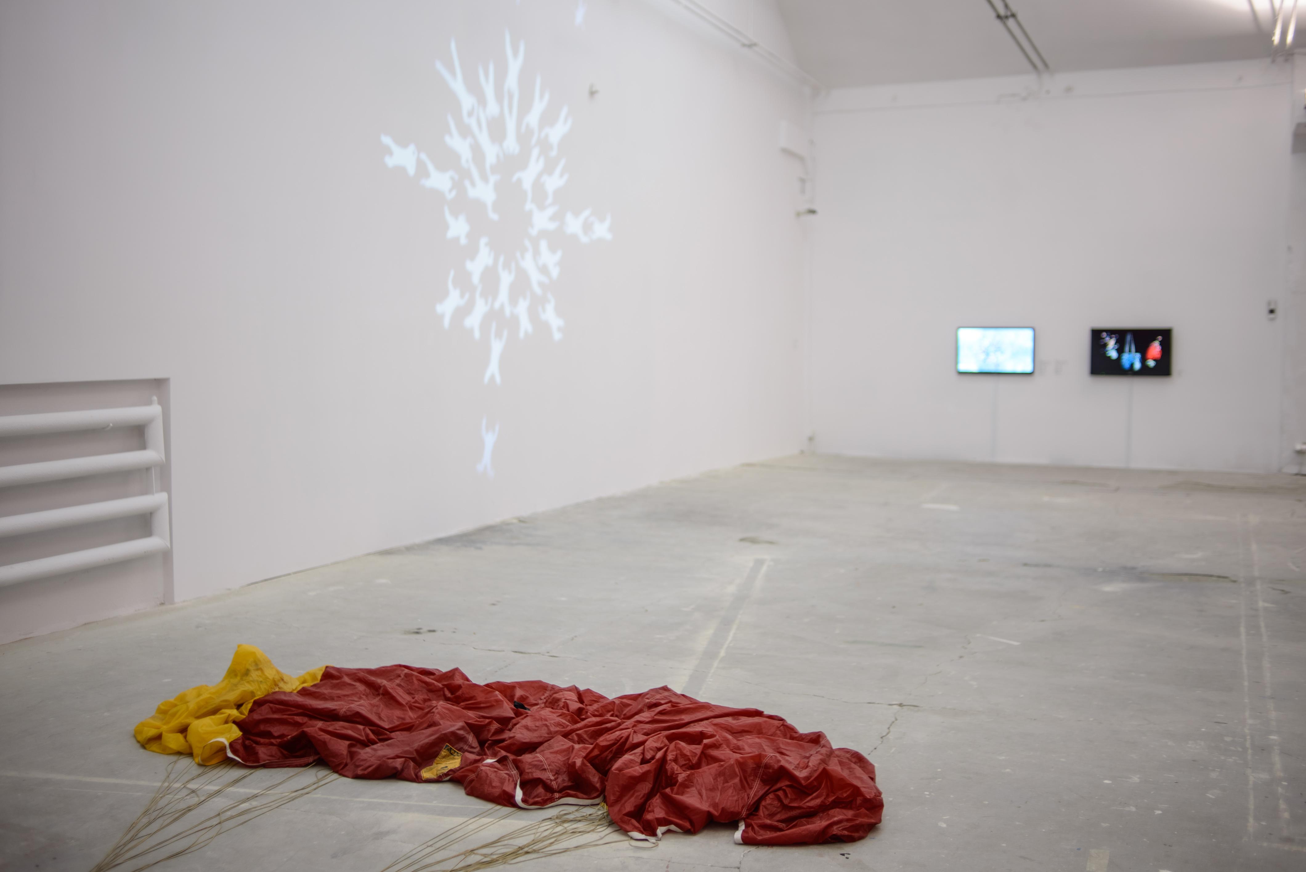 """Dominik Lejman, """"Parafold"""" (fragment, 2011),"""" Katedra 60s."""" (2011), """"Katedra 60s."""", dokumentacja (2011), """"Fioletowy, Niebieski, Czerwony"""" (2012)"""