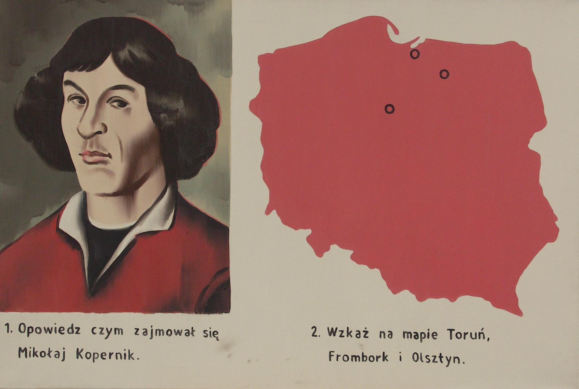 """Marcin Maciejowski, """"Odpowiedz czym zajmował się Mikołaj Kopernik"""", 2004, olej napłótnie"""