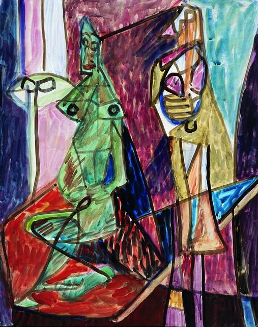 Teresa Tyszkiewiczowa, Kompozycja, 1947, gwasz, akwarela, tektura, 62 x 49, Kolekcja Galerii Piekary