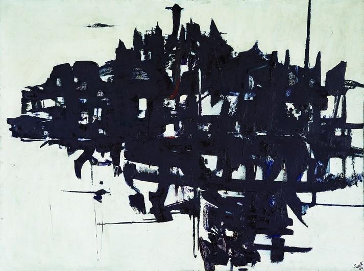 Teresa Tyszkiewiczowa, Kompozycja, 1964, olej, płótno, 97 x 130 cm, Kolekcja Galerii Piekary