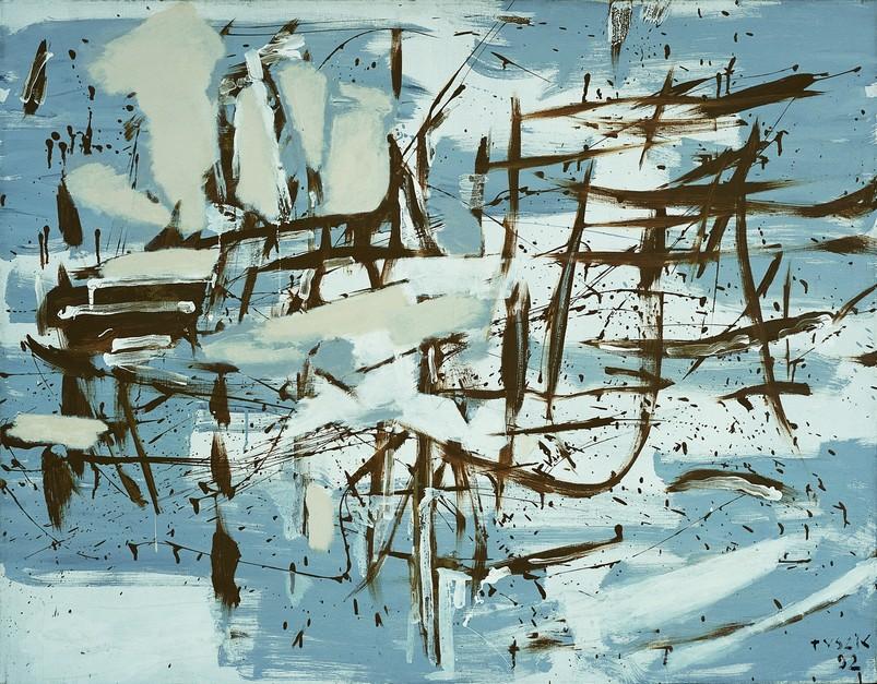 Teresa Tyszkiewiczowa, Gest, 1992, olej, płótno, 114,3 x 145,7 cm, Kolekcja Galerii Piekary