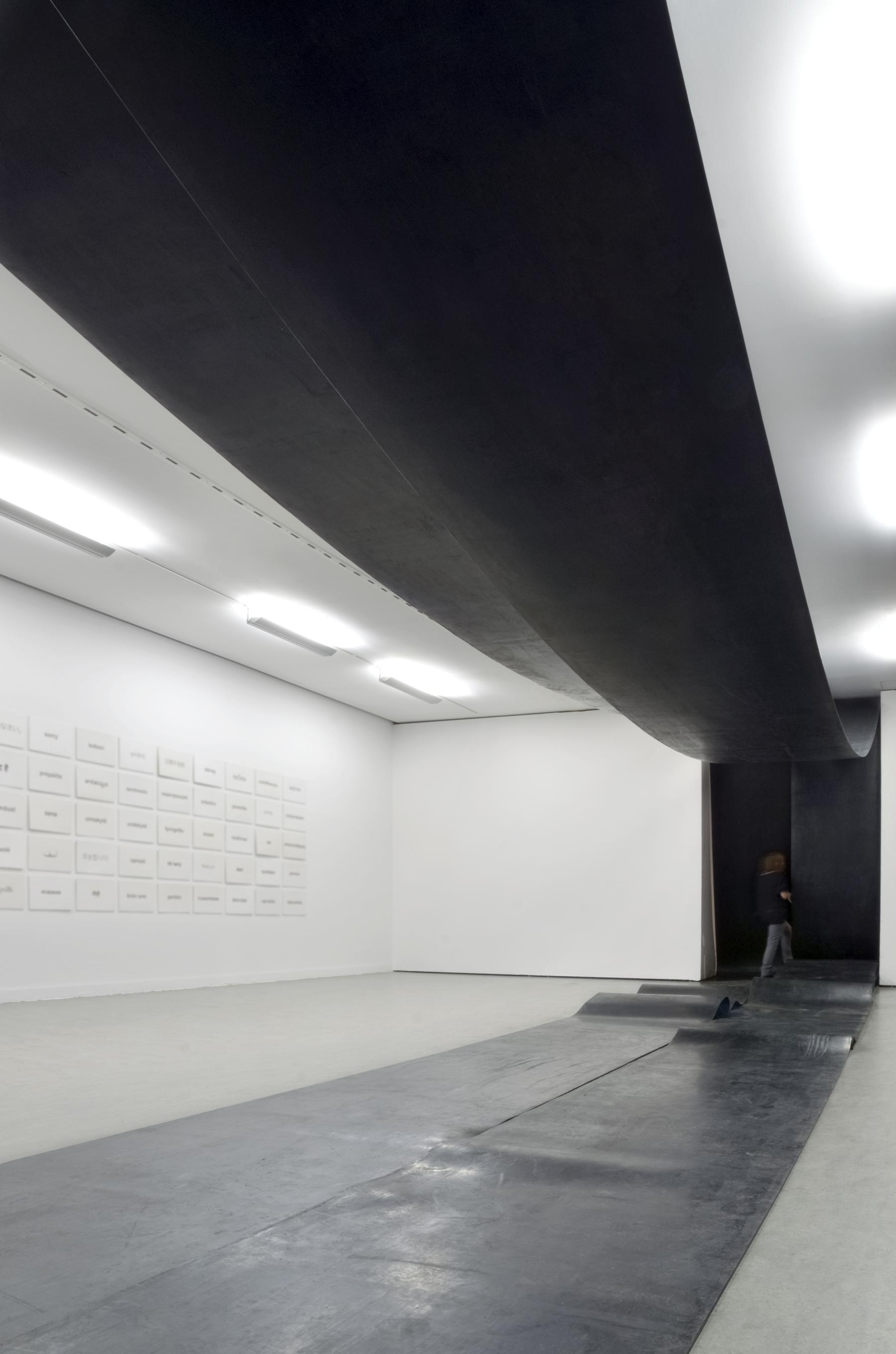 Ewa Axelrad, beztytułu, 2013, instalacja, pasy pędne gumowe, metal.