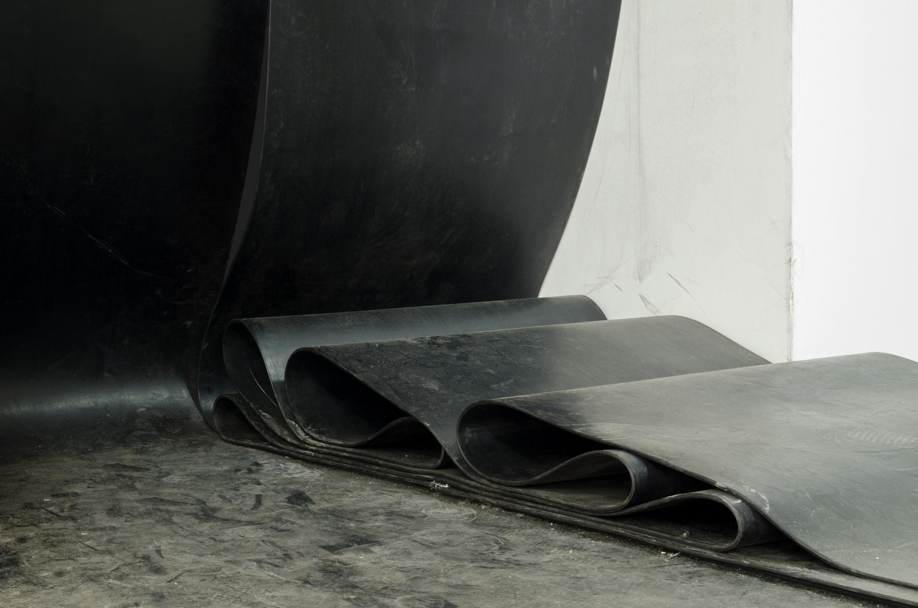 Ewa Axelrad, beztytułu, 2013, instalacja, pasy pędne gumowe, metal