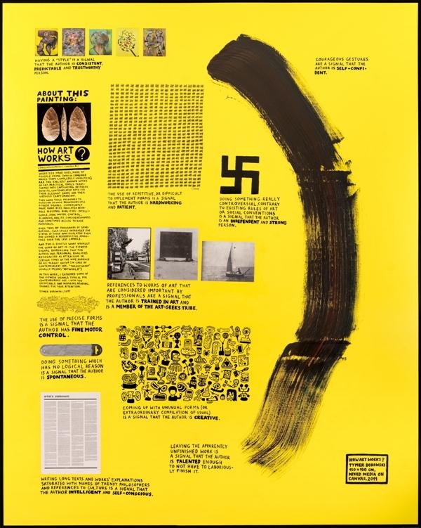Tymek Borowski, How art works, 2011, różne media napłótnie, 150x190cm. Dzięki uprzejmości artyście