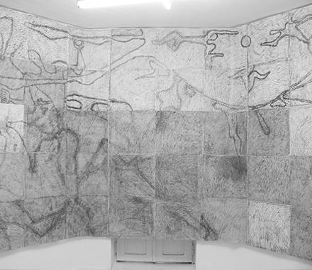 New Roman, Tarcie, 2011 frotaż napapierze, 275x900 cm dzięki uprzejmości artystów