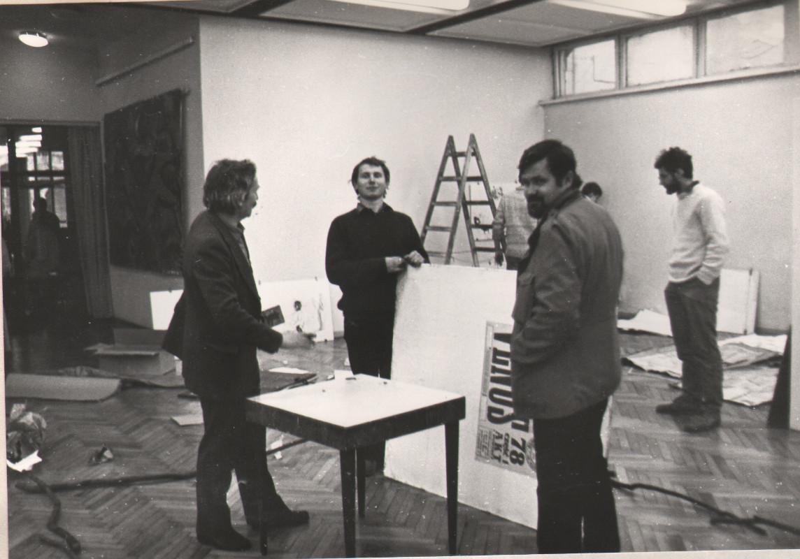 Pracownia Ryszarda Winiarskiego, 1984, RW, Włodek Pawlak, Mirosław Duchowski, fot.Leszek Krutulski
