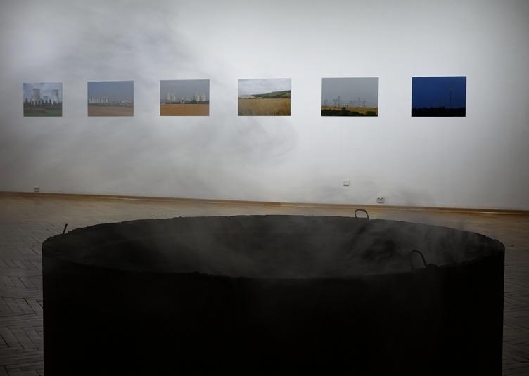 Klementyna Katarzyna Stępniewska Rowska, Osy pieprzą się zkwiatami, krąg betonowy, wys. 0,5 m, średnica 1,5 m, wytwornica dymu, siatka, 2014