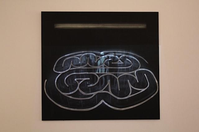 "Dominik Lejman ""Kogler Digest (lit byFlavin)"", 2014 akryl napłótnie, projekcja wideo"