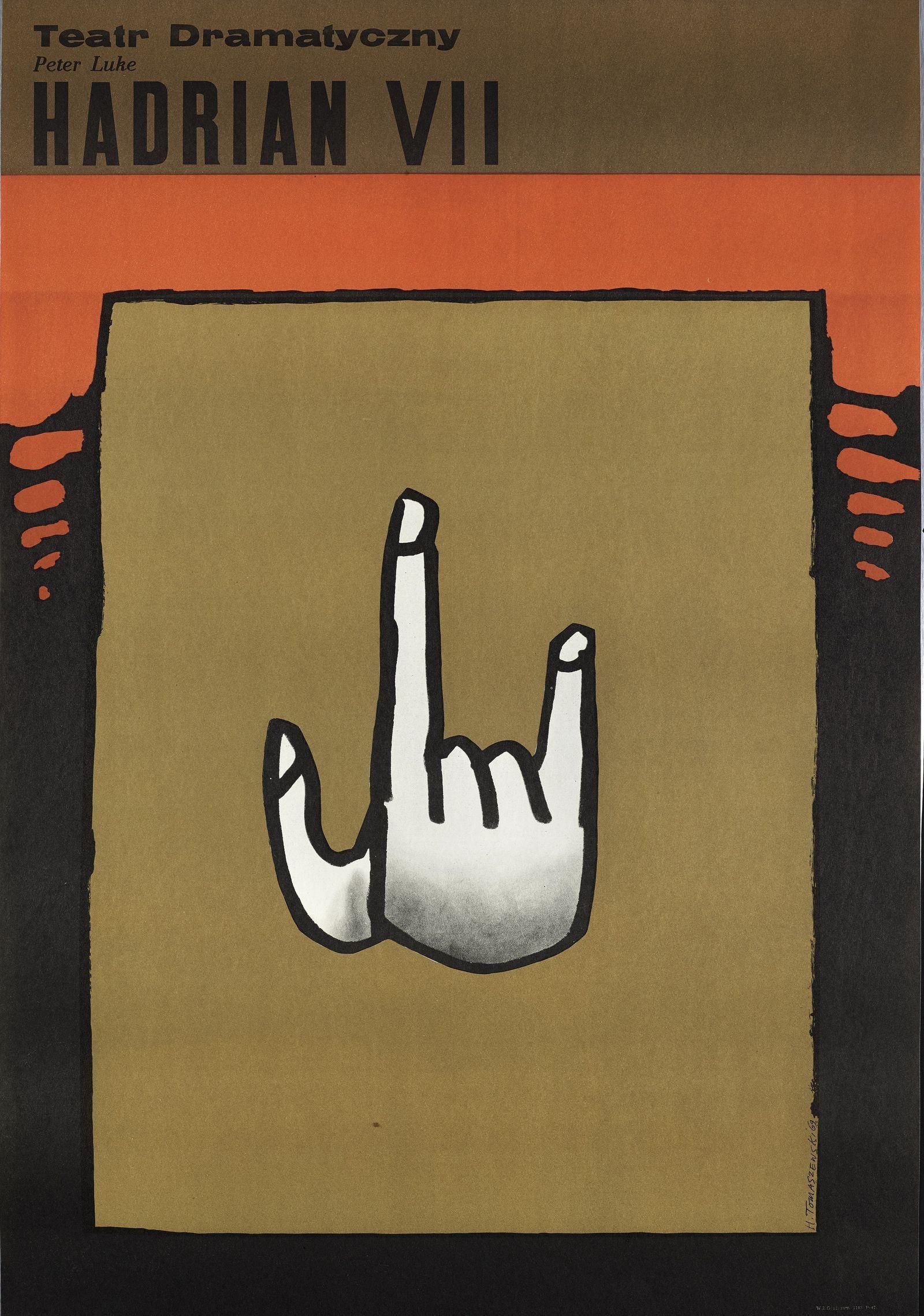Henryk Tomaszewski, Hadrian VII, plakat teatralny, 1969, dzięki uprzejmości Filipa Pągowskiego