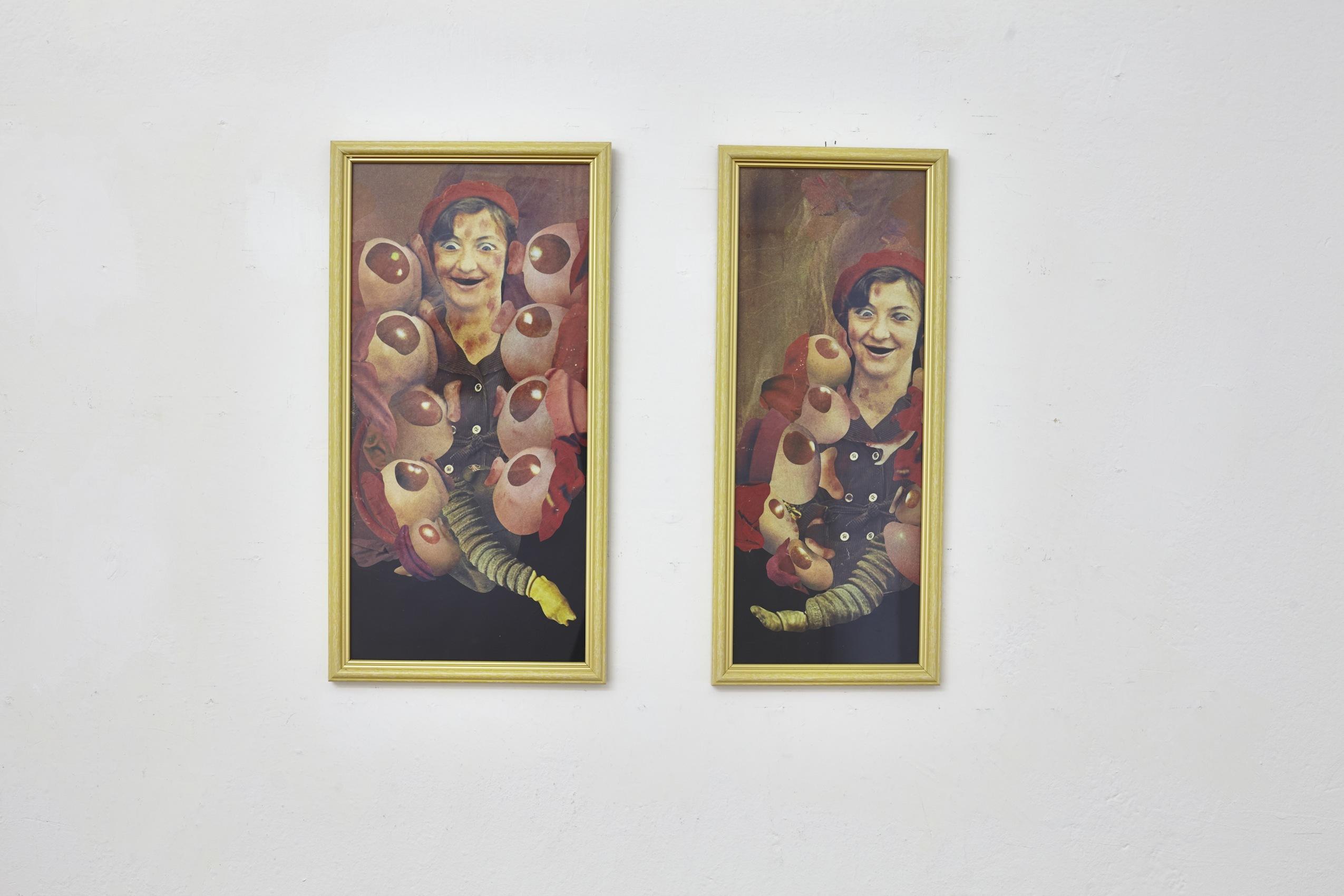 Konrad Maciejewicz, Horny Twins, 2013, kolaże napapierze