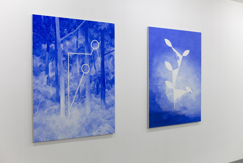 """Andrzej Tobis, 4. """"Geometria wlesie"""", """"Las wgeometrii"""", widok wystawy """"Dowody rzeczowe"""", CSW Kronika"""