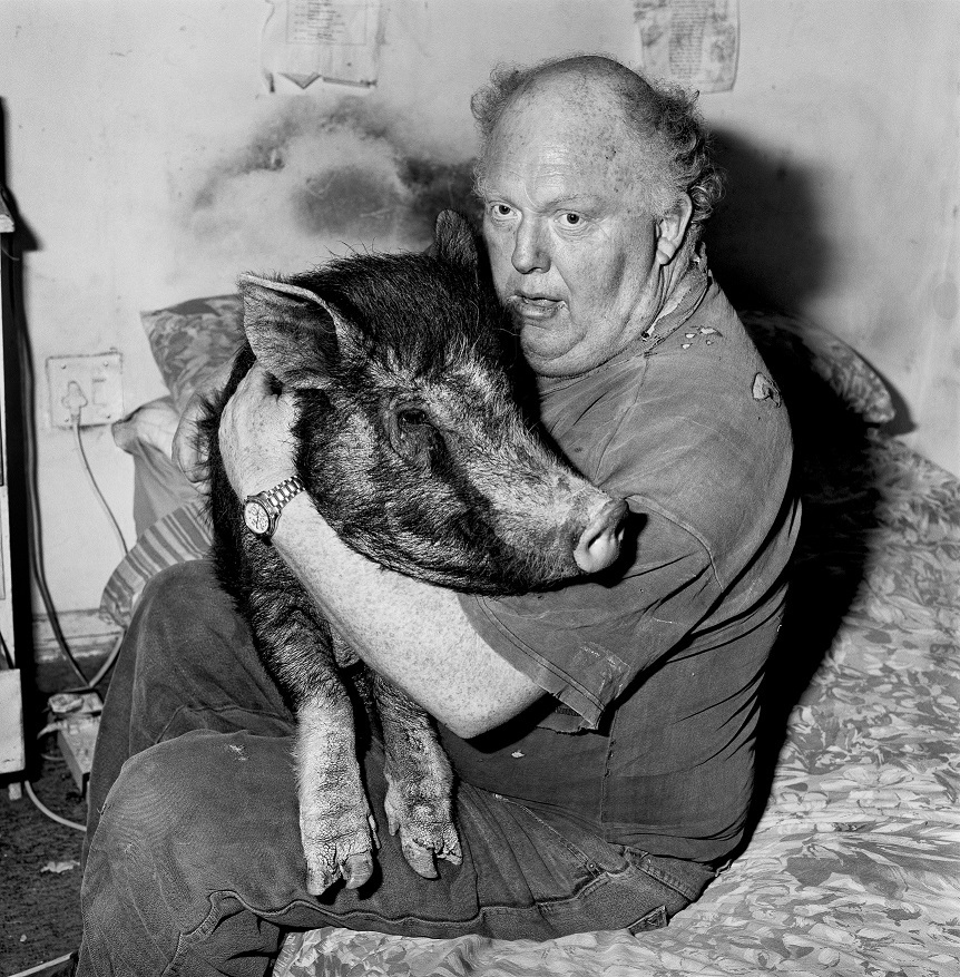 Roger Ballen, Brian with pet pig, 1998