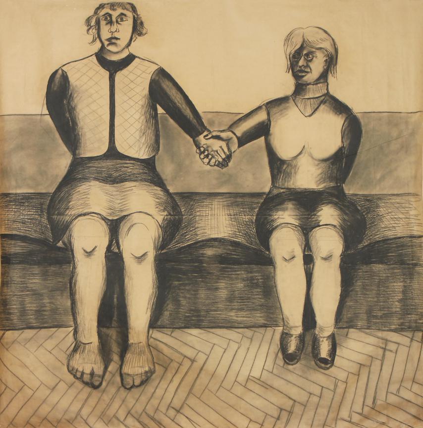 """Jarosław Modzelewski, """"Świadki Jehowy"""", 1985, szary papier_ węgiel, Kolekcja Galerii Zderzak, Kraków"""