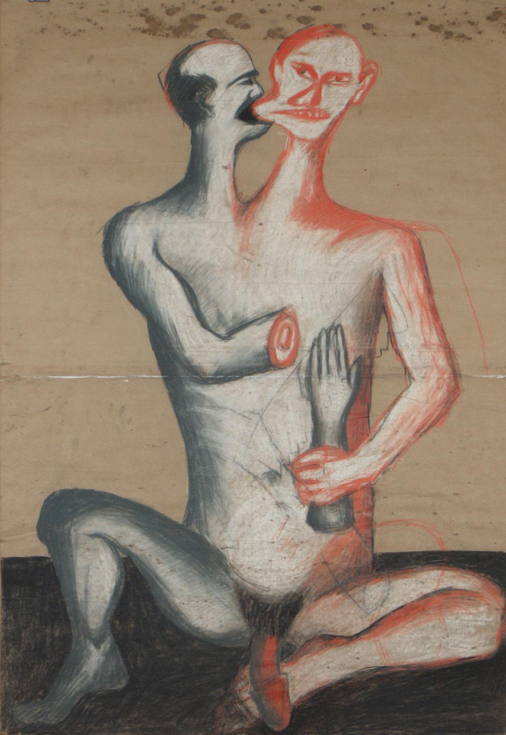 Jarosław Modzelewski, Dwugłowy Chińczyk, węgiel, kreda, kredki, 182 x 126 cm, 1985