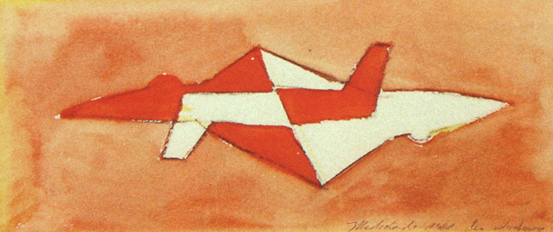 JAROSŁAW MODZELEWSKI Dwa odrzutowce, gwasz, papier, 11.5 x 26.5 cm, 1981, Kolekcja Galerii Zderzak, Kraków