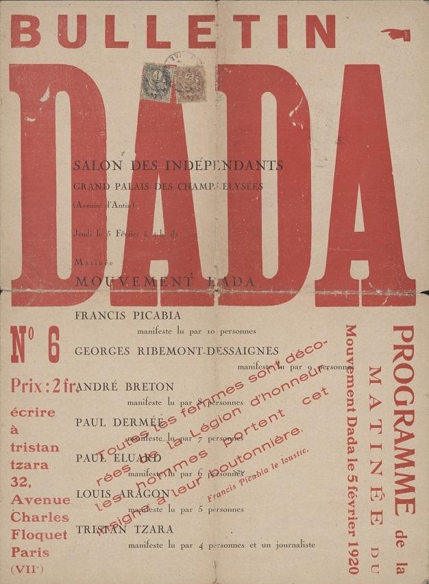 Biuletyn DADA, nr6, 1920. Red. Tristan Tzara. Marzona Archive