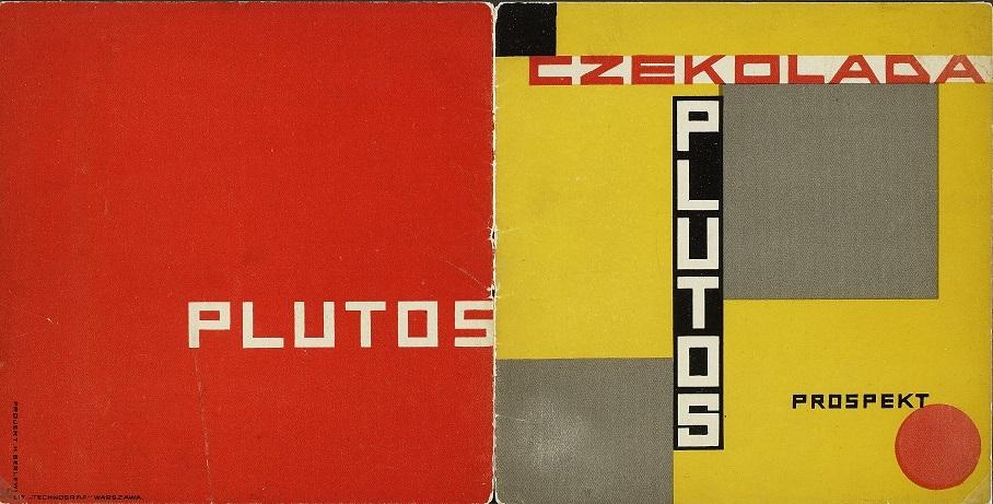 Berlewi Henryk, Prospekt reklamowy Czekolady Plutos; 1925; druk barwny; karton, papier