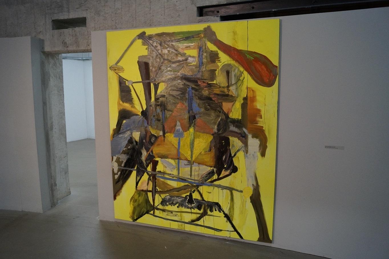 """Krzysztof Mężyk, """"Żółty opad"""", 2012, akryl iolej napłótnie"""