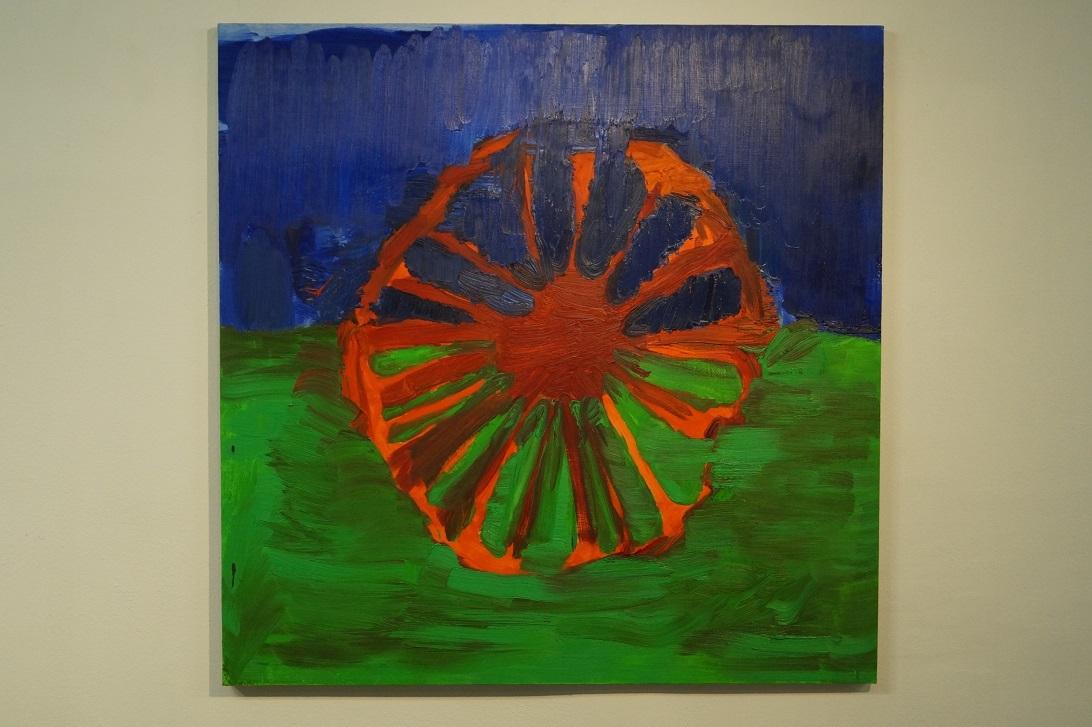 """Krzysztof Mężyk,""""Flaga romska"""", 2013, akryl iolej napłótnie"""