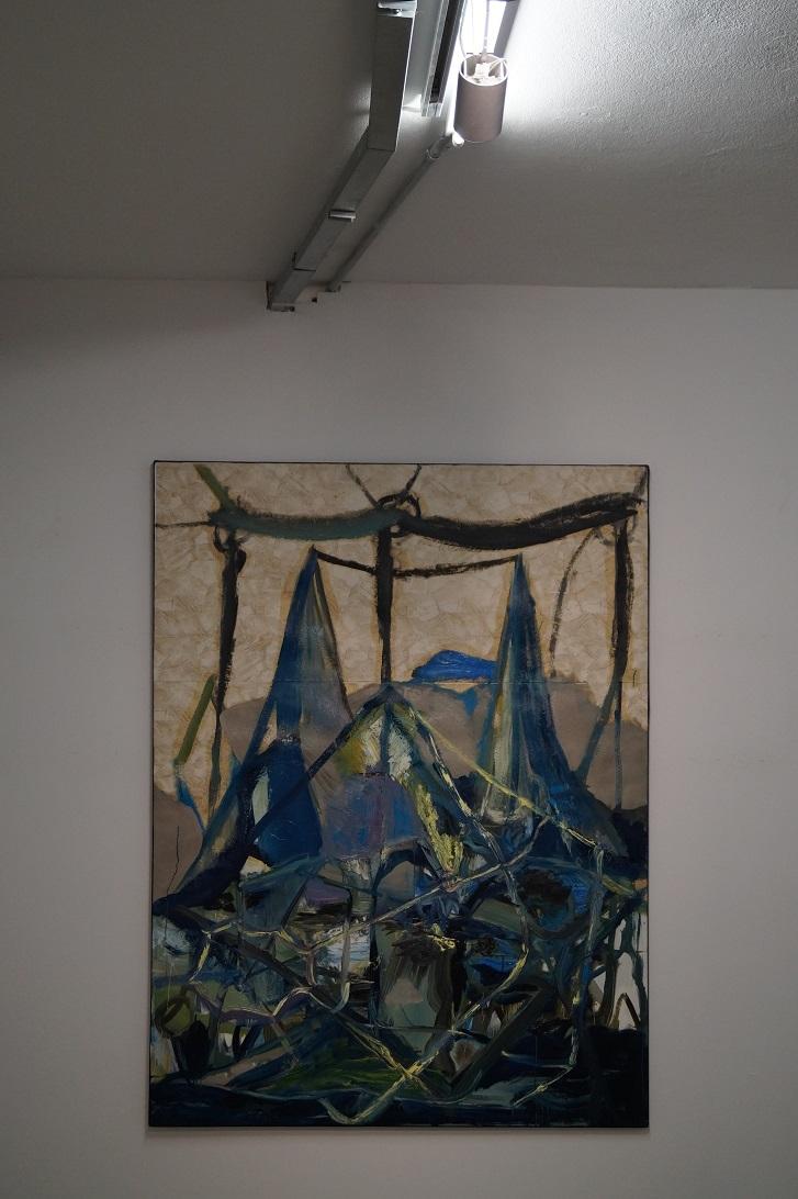 """Krzysztof Mężyk, """"Topnienie głębinowego lodu"""", 2012, akryl, kolaż iolej napłótnie"""