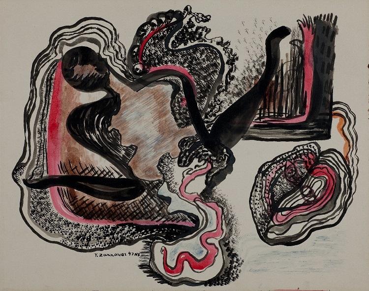 """Teresa Żarnower, """"Kompozycja"""", 1947. Zkolekcji Muzeum Sztuki wŁodzi"""