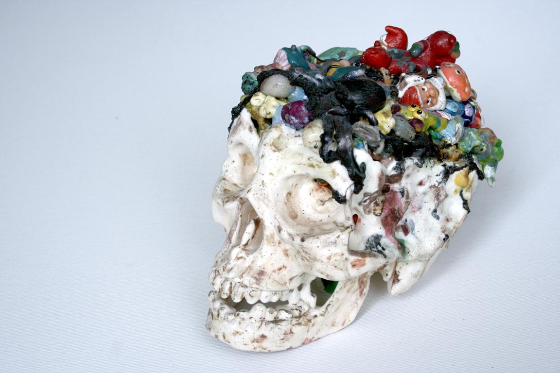 Czaszka / Plastikowe gardło, plastik, akryl, 15x20x13 cm, 2013.