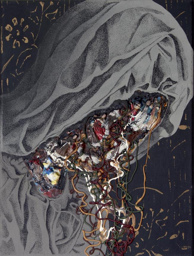 21. Plastikowe gardło, akryl, plastik, cienkopis napłótnie 40x30 cm, 2013