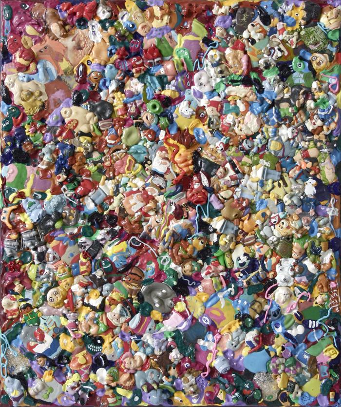 15. Kinder Surprise / Plastikowe gardło, akryl, plastik, cienkopis napłótnie 60x50 cm, 2014