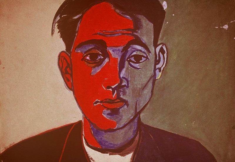 (Autoportret), niedatowany akwarela, gwasz, papier ok. 30 x 42 cm praca nieodnaleziona, reprodukcja archiwalna z1972 roku © Fundacja Andrzeja Wróblewskiego